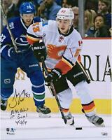 Johnny Gaudreau Calgary Flames Signed 16 x 20 Debut Photo & Inscs - LE 14