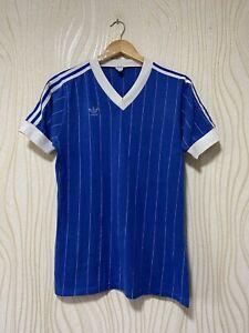 ADIDAS 80s FOOTBALL SHIRT SOCCER JERSEY BLUE sz M MENS