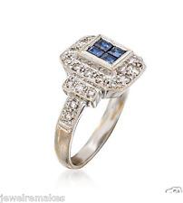 Certified Vintage 0.90ct Blue Princess Cut Diamond Engagement 14K Gold Ring