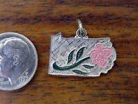 Vintage sterling silver PENNSYLVANIA KEYSTONE STATE ENAMEL FLOWER charm WELLS