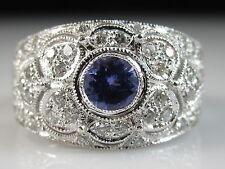 LeVian Tanzanite Diamond Ring 14K White Gold Wide Band Filigree Fine Size 6.75