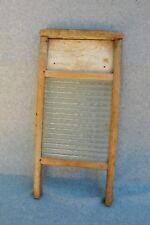 "Primitive Washboard Glass & Wood 18"" x 9"" x 1 1/2"" Vintage Antique Laundry Room"
