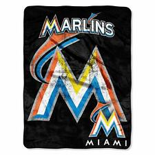 Officially Licensed MLB Triple Play Mirco Raschel Throw Blanket of the Marlins