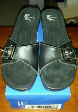 "NEW White Mountain WOMENS ""Jessica"" Black Leather Wedge Sandals SIZE 6.5"