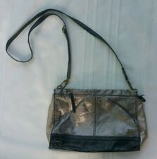 The Sak Silver & Black Metallic Small Shoulder Bag Crossbody Leather Purse