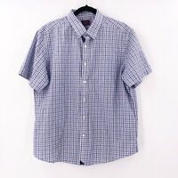 UnktucIt Mens Size Large Button Front Short Sleeve Checks Shirt Collared Cotton