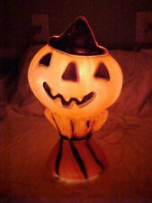 VINTAGE HALLOWEEN BLOW MOLD LIGHT UP PUMPKIM JACK-O-LANTERN ON A CORN STALK
