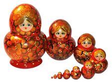10 HAND MADE TRADITIONAL RUSSIAN NESTING STACKING MATRYOSHKA DOLLS 13 cm 5.2''