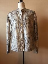 Chico's Animal Print Metallic Zip Snap Front Fully Lined Jacket Size 2 (L) EUC