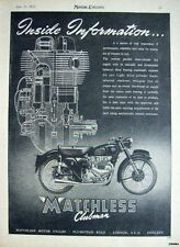 Vintage 1955 MATCHLESS 'Clubman 498cc' Motor Cycle ADVERT #2 - Original Print AD