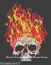 Skull with Flames Rhinestud iron on Transfer Halloween Bling applique