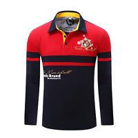 Herren gestreift Polo Shirt Langarm Patchwork Baumwolle T Shirts mit bestickt