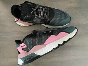BNIB Ladies US Size 10.5 Adidas Nite Jogger Athletic Shoes Grey Pink Reflective