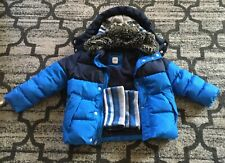 Gap Kids Boys Blue Puffer Coat Jacket with hat & scarve, Size XS, Age 4-6 years