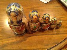 "Russian Wood 5 Pc Hunting Scenes Nesting Dolls Approx 6"" Beautiful!"