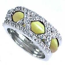 DESIGNER REPLICA_RING SET_3-X_CZ / YELLOW ENAMEL_SZ-12 __925 Sterling Silver_NF