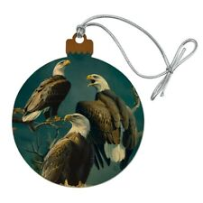 Bald Eagle Tree Top Gathering Wood Christmas Tree Holiday Ornament