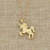Women Girls Unicorn Pendant Necklace Fashion Alloy Animal Design Charm Jewelry
