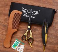 Professional Barber Hair Cutting Scissors Shears Hairdressing Salon & Gold Razor
