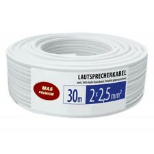 30m Lautsprecherkabel Audiokabel Boxenkabel 100% OFC CU rechteckig 2x2,5mm² weiß