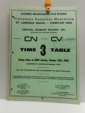 Vintage - CN - CV - Employee Time Table # 3 - ST. LAWRENCE REGION - 1966