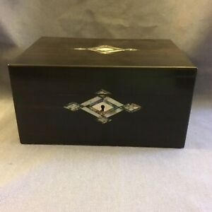 ANTIQUE VICTORIAN COROMANDEL & MOTHER OF PEARL FITTED JEWELLERY BOX ~ 19th C