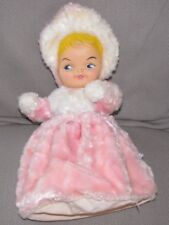 VINTAGE BABY DOLL RUBBER FACE FUR FURRY BODY PINK ZIP ZIPPERED 14""