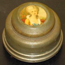 ~Antique Art Deco Powder Jar Music Box 1920's Vintage Victorian Lady~