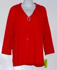 C.D. Daniels Woman's Plus Size Full Fashion Knit Sweater Red 1X NWT