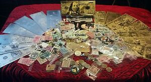 <HUGE MIXED LOT> JEWELRY+ GOLD& SILVER Banknotes/ STAMPS& COINS+FOSSILS+MORE!