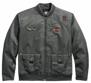 Harley-Davidson Mens Checkered Flag Eagle Bomber Motorcycle Jacket XL X-Large