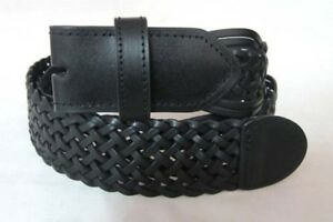 BELT - Black Braided Woven PU Leather Snap On Belt Mens Womens - NO BUCKLE