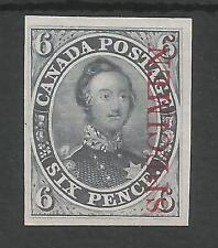 CANADA 1851 PLATE PROOF IN DARK GREY ON INDIA PAPER 0/PRINTED SPEC IN RED,SCARCE