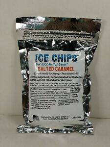 Ice Chips Xylitol Candy Salted Caramel Keto Friendly 5.28oz Resealable Pouch