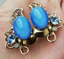 Clip's d'oreilles vintage ,année 80, dorées et perles bleues en verre