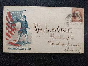 Civil War: Wash, DC 1861 #26 Remember Ellsworth Patriotic Cover to Readington NJ