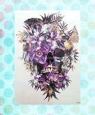 """Makeup Skin sugar skull death floral extra large 8.25"""" half-sleeve arm tattoos"""