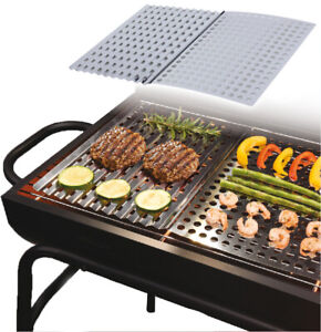 2 x Large Stainless Steel BBQ Metal Grilling Sheet Easy Clean Barbecue Cooking