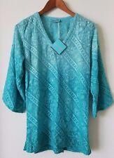 LETARTE Aqua Blue V Neck Embroidered Tunic Dress Cover Up Size XS NWT $272