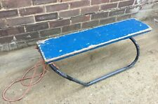 Vintage rustic shabby chic metal and wooden sledge sleigh bench primitive
