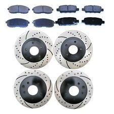 [Front and Rear Set] 4 Performance Brake Rotors and 8 Premium Ceramic Brake Pads