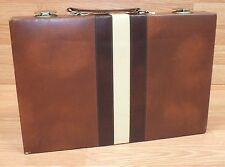 "Backgammon 15"" x 10"" Brown White Faux Leather Portable Travel Folding Case Game"