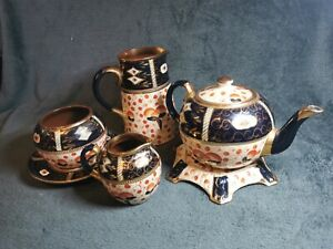 Vintage Imari Gaudy Welsh Blue And Gold Teapot On Stand, Jugs, Sugar Pot & Plate