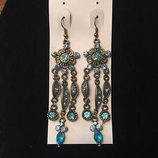 Crystal Vintage Bronze Chandelier Earrings Nwt Flower Blue Turquoise Aquamarine