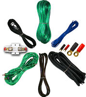 8 Gauge Amplfier Power Kit for Amp Install Wiring RCA Cable Green Priority Ship!
