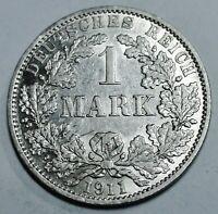 Deutsches Kaiserreich 1 Mark Silber 1911 A - Reichsadler - st / unz