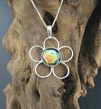 Handcrafted Sterling Silver Dichroic Glass Flower Pendant