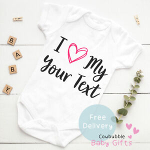 I Love My Your Text - Daddy/Auntie Personalised Baby Vest Baby Clothes, Bodysuit