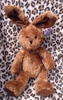 """Koochie Easter Bunny Rabbit Brown With Bendable Ears 17"""" Soft Toy Beanie Tags"""