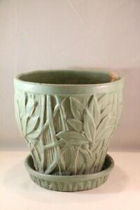 """VTG MCCOY Pottery LARGE 8-1/2"""" Matte GREEN LOTUS Leaf FLOWER POT Planter 1930's"""
